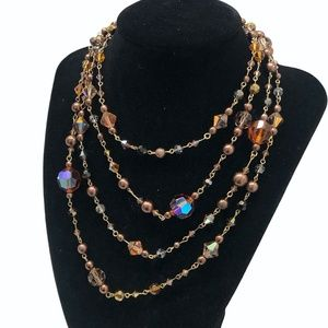 FALL TONE LONG AB CRYSTAL & FAUX PEARL NECKLACE